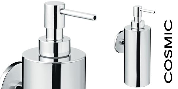 Dosificador de jabón cromado Bath+ by Cosmic Duo Round para colocar en pared sin clavo barato en Amazon