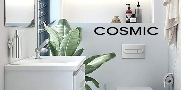Dosificador de jabón cromado Bath+ by Cosmic Duo Round para colocar en pared sin clavo chollo en Amazon