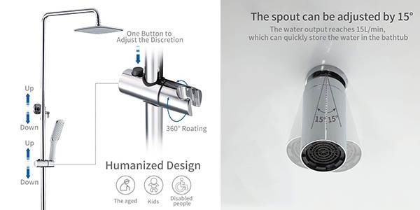 Homelody columna de ducha con varios grifos y rociador superior y bandeja para geles chollo