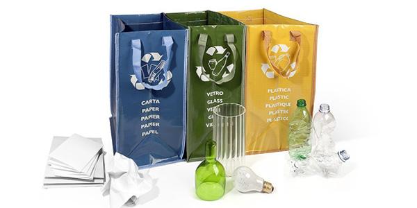 Juego de 3 bolsas para reciclaje de basura barato en Amazon