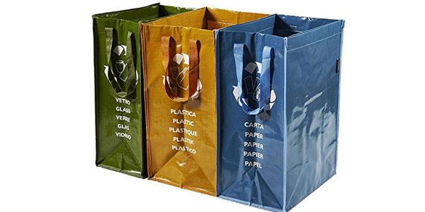 Juego de 3 bolsas para reciclaje de basura chollo en Amazon