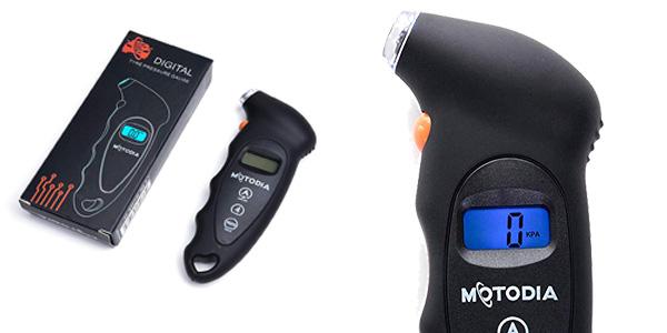 Manómetro digital para neumáticos MotoDia MD1 con pantalla LCD retroiluminada barato en Amazon