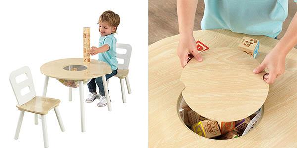 mesa de juegos Kidkraft con sillas de madera oferta