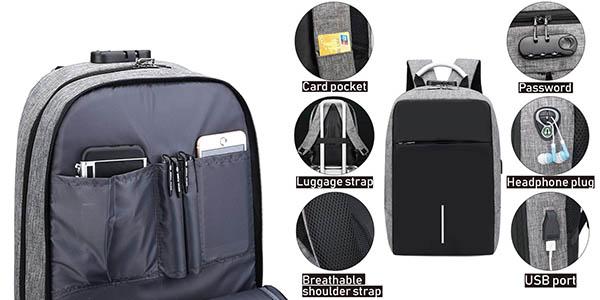 mochila acolchada impermeable con puerto USB oferta
