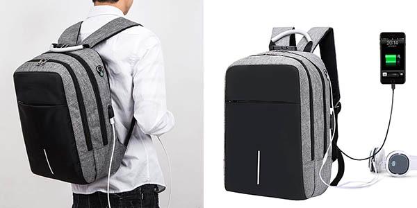 mochila de viaje RJEU con puerto USB barata width=