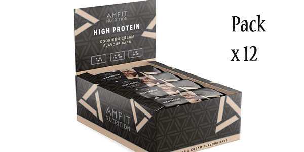 Pack de 12 Barritas de proteínas Amazon- Amfit Nutrition sabor Cookies & Cream x60 gr/ud barato en Amazon