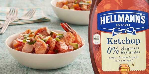 Pack x12 Hellmann's ketchup endulzado solo con miel envase 430 ml chollo en Amazon
