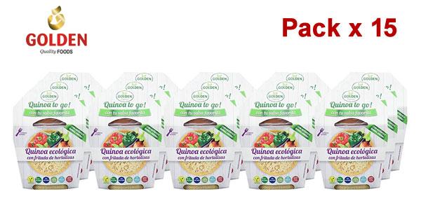 Pack x15 Golden Organic Quinoa To Go Ecológica con fritada de hortalizas 205 gr barato en Amazon
