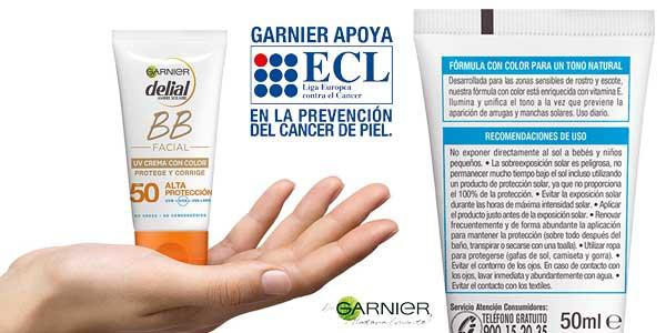 Garnier Delial BB Sun Crema Protector Solar con Color Especial Rostro y Escote IP50+ chollo en Amazon