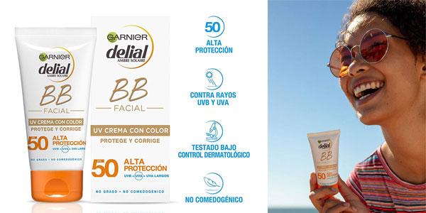 Garnier Delial BB Sun Crema Protector Solar con Color Especial Rostro y Escote IP50+ chollazo en Amazon