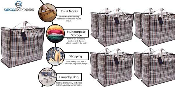 Pack de 8 bolsas XXL DeccoExpress para organización o compras chollo en Amazon