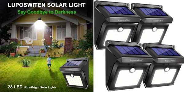 4 focos solares LED Luposwiten baratos en Amazon