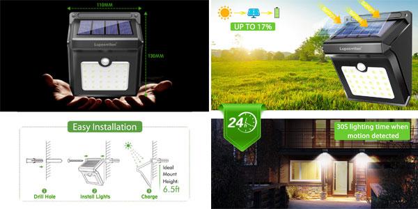 4 focos solares LED Luposwiten chollazo en Amazon