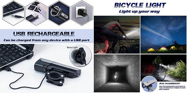 set de luces para bicicleta Ouspt relación calidad-precio estupenda