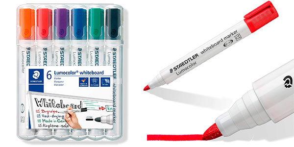 Set Staedtler Lumocolor 351 de 6 rotuladores de colores para pizarra blanca barato