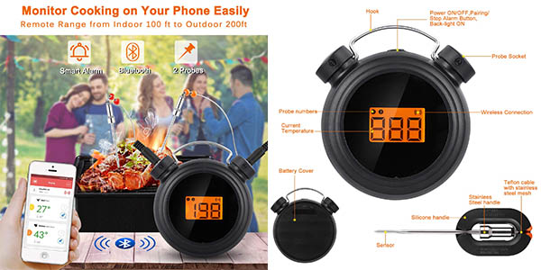 termómetro digital AGM con control de temperatura y cupón descuento en Amazon