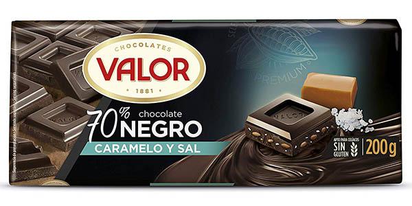 Valor chocolate negro al 70% con caramelo y sal chollo
