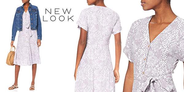Vestido New Look Snake Print gris para mujer barato en Amazon