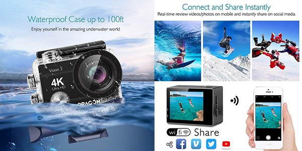cámara deportiva Dragon Touch sumergible relación calidad-precio estupenda
