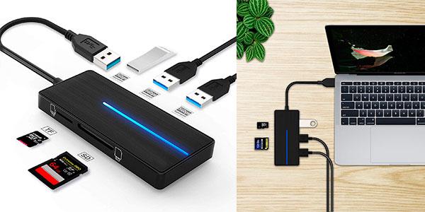 Chollo Hub Kexin 5 en 1 con 3 puertos USB 3.0 y lector de Tarjetas SD y TF
