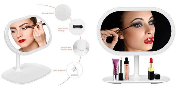Espejo de maquillaje Kranich con luz LED barato en Amazon