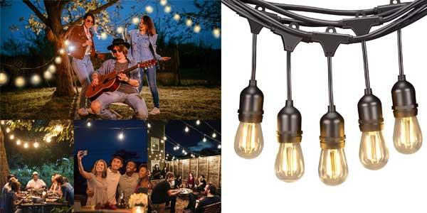 Guirnalda Luces LED para exterior Kenlita casquillo E27 barata en Amazon
