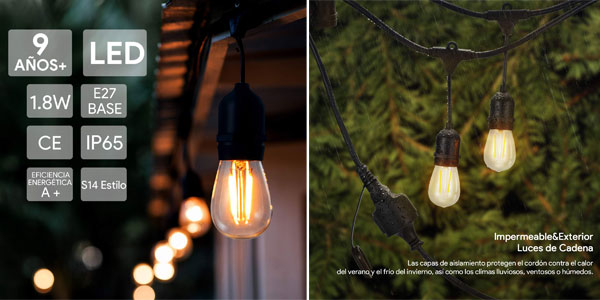 Guirnalda Luces LED para exterior Kenlita casquillo E27 chollo en Amazon