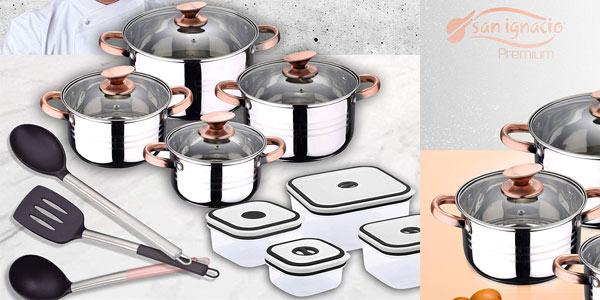 Batería de cocina 4 piezas San Ignacio Premium + 4 fiambreras + 3 utensilios a buen precio en Amazon