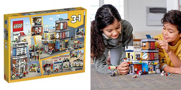 juego LEGO set construcción de edificio con veterinario para mascotas, comercio y cafetería oferta