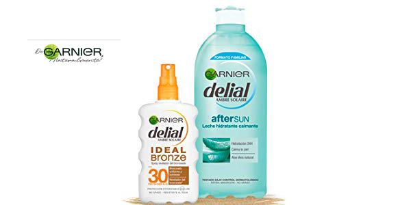 Kit de bronceado Garnier Delial: Spray Ideal Bronze IP 30 + Leche hidratante calmante after sun barato en Amazon