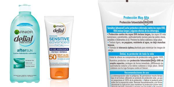 Garnier Delial kit de protección deporte: Protección facial UV Gel hidratante IP 50+ + Bruma protectora IP 50 UV sport + Leche hidratante calmante after sun chollazo en Amazon