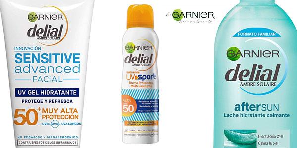 Garnier Delial kit de protección deporte: Protección facial UV Gel hidratante IP 50+ + Bruma protectora IP 50 UV sport + Leche hidratante calmante after sun barato en Amazon