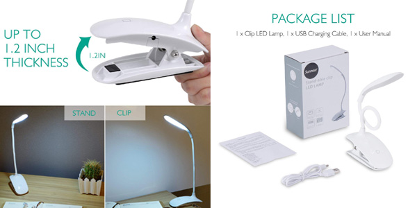 Luz LED Adoric táctil con 3 niveles de brillo y pinza chollazo en Amazon