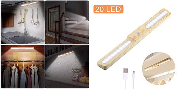 luz con sensor de movimiento Hosdey con cupón descuento Amazon