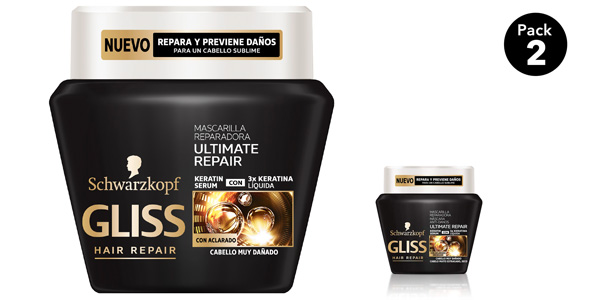 Pack x2 Mascarilla Schwarzkopf Gliss Ultimate Repair Cabellos Muy Dañados de 300 ml/ud barata en Amazon