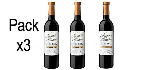 Set 3 botellas Marqués de Carrión Reserva D.O Rioja Vino Tinto de 750 ml/ud barato en Amazon