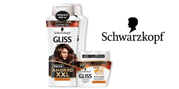 Pack x2 Champú Schwarzkopf Gliss de 400 ml + 1 Mascarilla Reparación Total 300 ml barato en Amazon