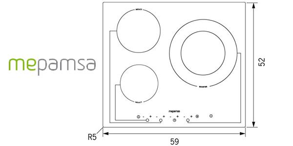 Placa de inducción Mepamsa 2 It Md 630 G con 3 zonas de cocción chollazo en Amazon