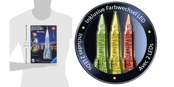 Puzzle 3D Ravensburger Chrysler Building edición Nocturna chollazo en Amazon