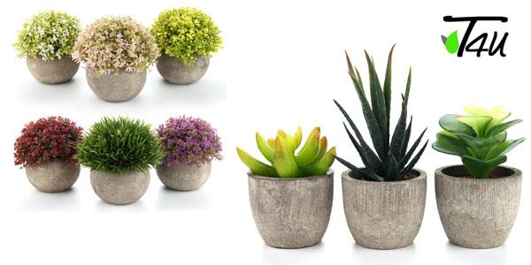 Set Mini plantas artificiales T4U para decoración barato en Amazon