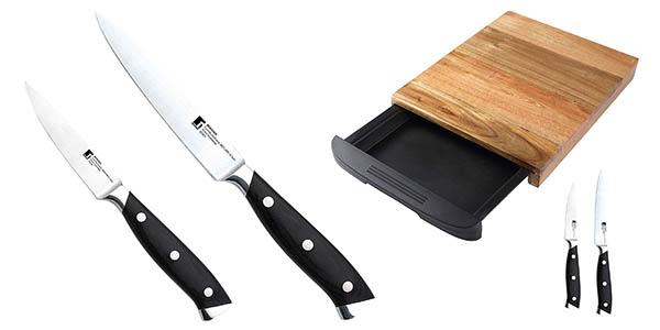 Set de tabla con cuchillos para cortar Bergner barato