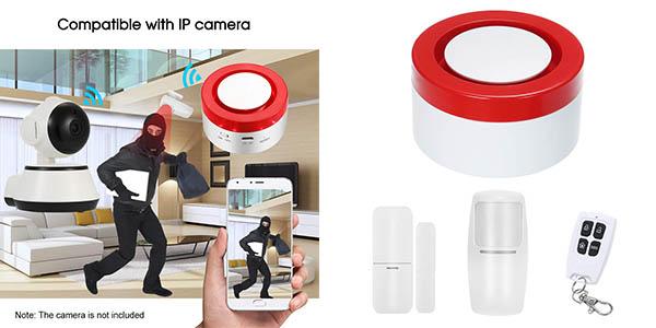 alarma Owsoo con sensor y aplicación móvil cupón descuento Amazon