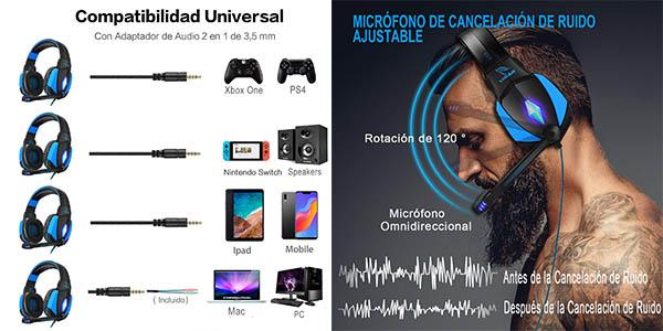 auriculares gaming Yinsan con micrófono y reducción de ruido oferta