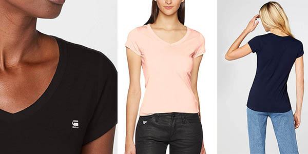 camiseta básica slim fit G-Star Raw Eyben slim para mujer chollo