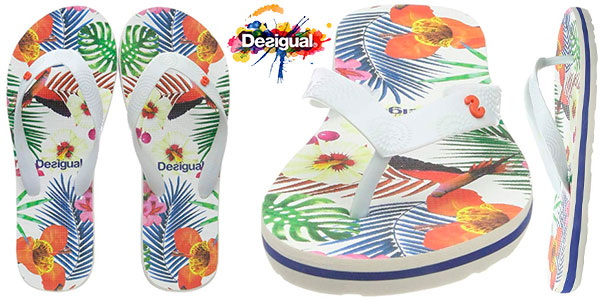 Chollo Chanclas Desigual Flip Flop Tropical para mujer