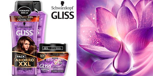 Chollo Pack Schwarzkopf Gliss Liso Asiático (2 Champú de 400 ml + Mascarilla de 300 ml)