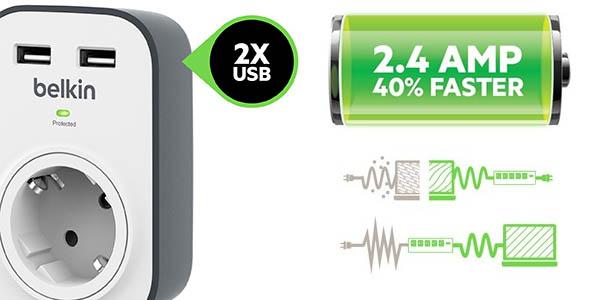Enchufe Belkin SurgeCube con 2 USB y protección contra sobretensiones