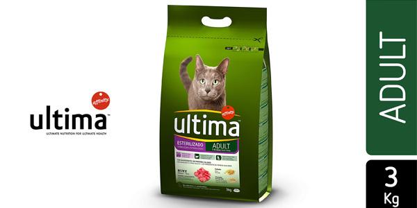 Ultima Esterilizado Adult con buey de 3 kg para gatos adultos barato en Amazon