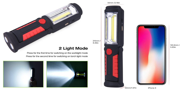 Linterna de trabajo COB LED portátil y recargable QEENLO ideal para coche chollazo en Amazon