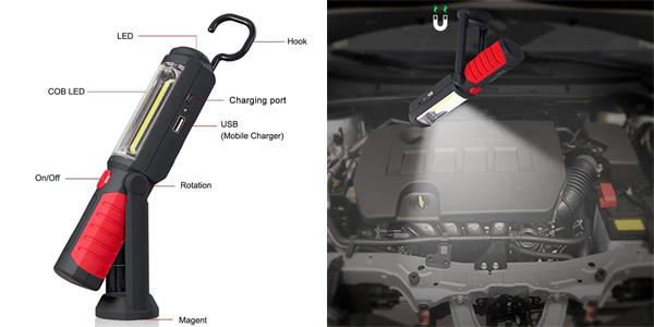 Linterna de trabajo COB LED portátil y recargable QEENLO ideal para coche chollo en Amazon